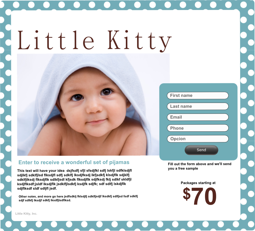 page for baby store
